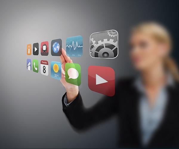 Business-Women-touching-app-screens